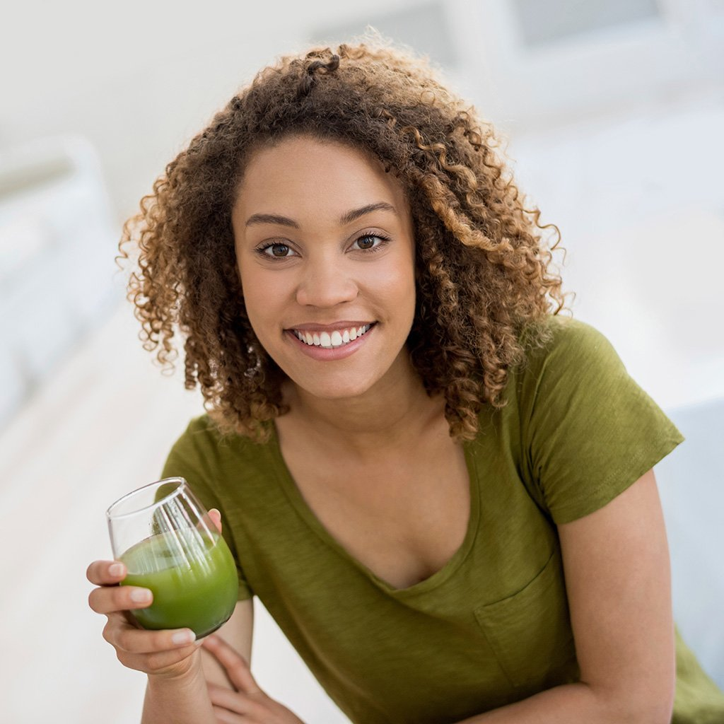 Woman with Green Juice